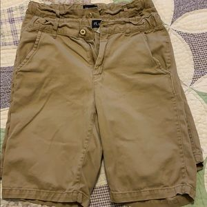 Two pairs Children's Place khaki shorts. Size 14